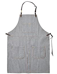 Perfashion Cool Men's / Women's Striped Apron Split-Leg Chef Works with Adjustable Leather Straps & Waist Multi Pockets