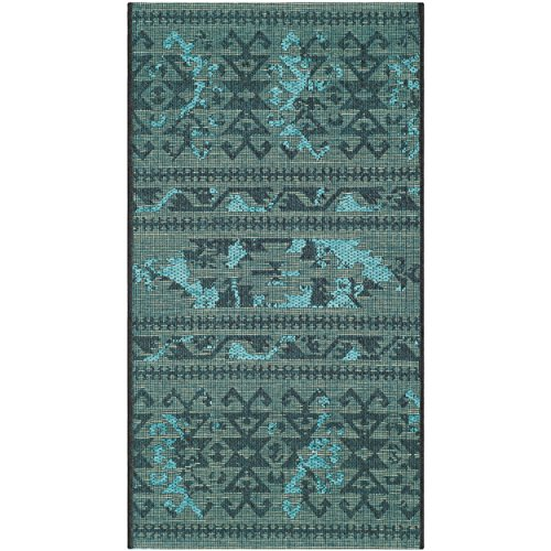 Safavieh Palazzo Collection PAL125-56C4 Black and Turquoise Area Rug (2' x (Chenille Accent Rug)