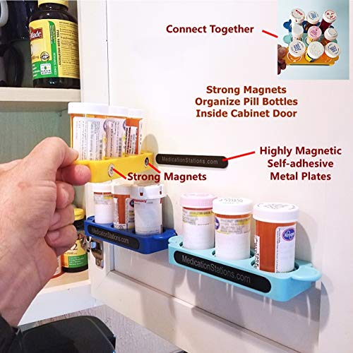 Pill Organizers - Bottle Holder - Medicine Organizer - Set of 3 Holds & Secures Pill Bottles - Sets Up in Seconds - Prevent Costly Spills & Loss Even Upside Down!