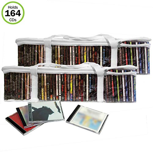 - Evelots CD Music Storage Clear Bags,Easy to Carry, Holds 164 CD's Total,Set/4