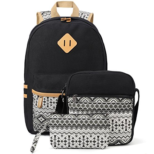 Plambag Canvas Backpack Set 3 Pcs, Casual Lightweight School Backpack for Women Teen Girls Black (3 Backpack)