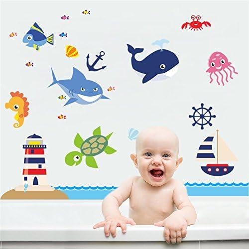 Kibi Pegatinas De Pared De Peces Submarinos Ni/ños Stickers Infantiles Para Pared Ni/ños Adhesivos Pared Peces Stickers De Pared Decorativas Dormitorio Bebe Impermeables Y Extra/íbles