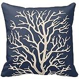 "Coral Tree In Cream On Dark Navy Blue Throw Pillow Case 18"" 18"""