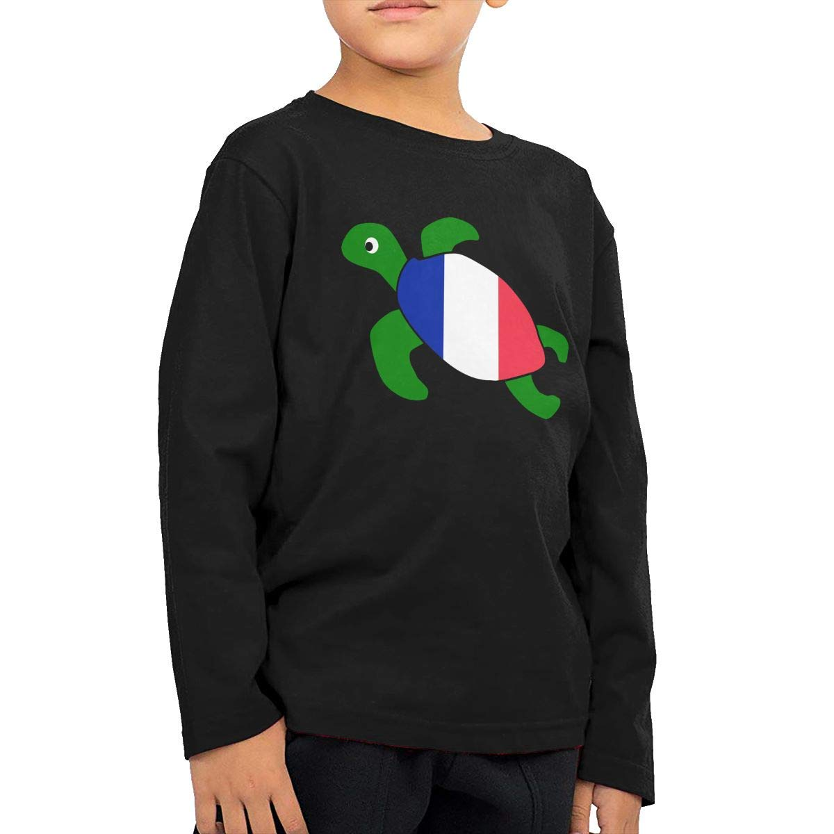 Baby Boys Kids Sea Turtle France Flag ComfortSoft Long Sleeve Shirt