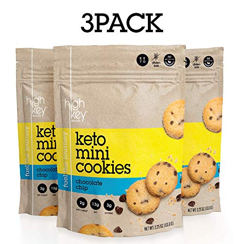 HighKey Snacks Mini Cookies – Chocolate Chip, Pack of 3, 2.25oz Bags – Keto Friendly, Gluten Free, Low Carb, Healthy Snack - Sweet, Diet Friendly Dessert – Ketogenic Food with Natural Ingredients