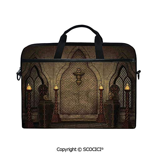 Personalized Laptop Bag 14-15 Inch Messenger Bag Fantasy Scene with Old Fashioned Wooden Torch and Skull Candlesticks in Dark Spooky Room Shoulder Sleeve Case Tablet - Mint Candlesticks