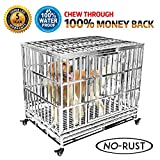 "Haige Pet Your Pet Nanny Heavy Duty Stainless Steel Outdoor Waterproof Never Rust Dog Crate Large Strong Dog Kennel Playpen Cage Large Dogs Patent Lock Four Wheels, 42"" Update"