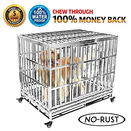 Haige Pet Your Pet Nanny 42 Dog Crate Cage Kennel Playpen Heavy Duty Stainless Steel Outdoor Waterproof Never Rust for Large Dogs with Patent Lock and Four Wheels
