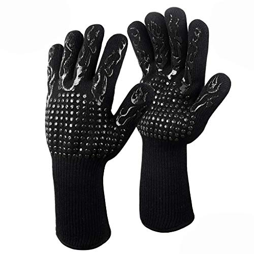 Fitfulvan Grilling Cooking Gloves Extreme Heat Resistant Oven Welding Gloves Rubber Anti-Scald Kitchen Gloves - Gel Hung Fireplace