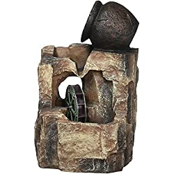 OK LIGHTING 11 in. Stone/Gray LED Table Fountain