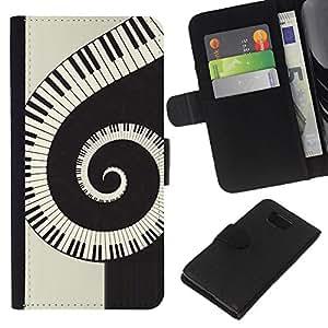 Planetar® Modelo colorido cuero carpeta tirón caso cubierta piel Holster Funda protección Para Samsung ALPHA / SM-G850 / S801 ( Music Spiral Piano )