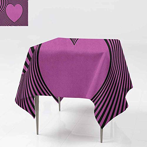AndyTours Spill-Proof Table Cover,Pink Zebra,Heart Shape with Twisting Lines Happiness Love Valentines Day Themed Stripes,Party Decorations Table Cover Cloth,70x70 Inch Fuchsia - Happiness Gray Stripes