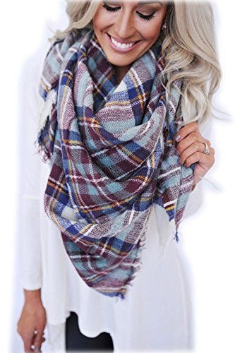 Tartan Wrap Blanket Scarf StellarChic (No 3 seaside coffee)