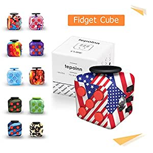 Tepoinn Fidget Attention Cube Relieves Stress and Anxiety Educational Development Toys for ADD, ADHD, Anxiety, and Autism Children and Adults (American-flag)