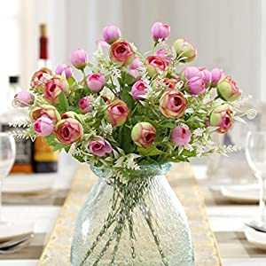 35cm 10 Heads Artificial Silk Camellia Flowers Roses Bouquet Wedding Home Decor 66