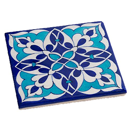 The Crabby Nook Trivet Blue Jaipur Pottery Tile Hot Pad Kitchen Decor Accent (Abstract) ()