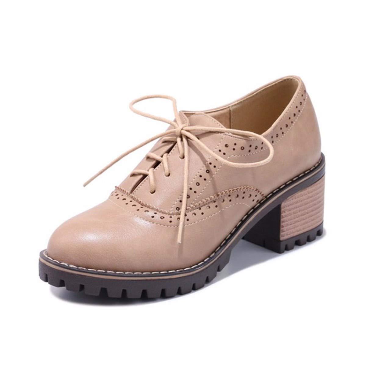 KPHY-Retro - Literatur - Duos Und Schnürung Bullock Ist Schuhe Runden Kopf Mit Studenten Mädchen Einzigen Schuh 4Cm 36 Aprikosen - Farbe