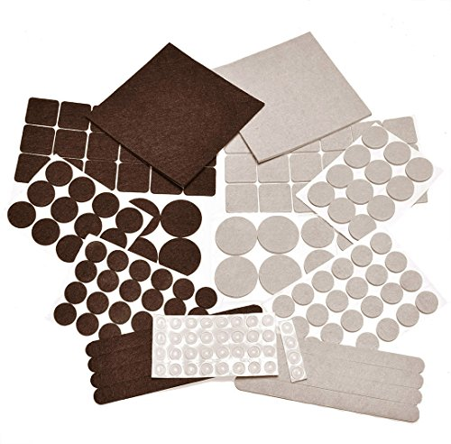 166 Piece Two Colors - Variety Size Felt Pads. Self Adhesive Pads with Transparent Noise Reduction Bumpers. Best Floor Protectors for Your Hardwood & Laminate Flooring. - 166 Piece