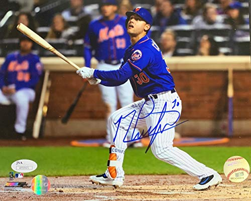 Michael Conforto Signed 8x10 New York Mets Blue Jersey Photo JSA ()