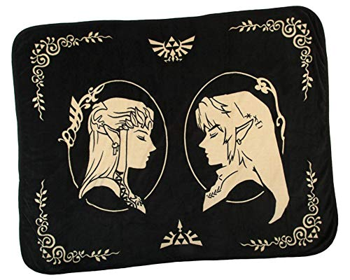 Bioworld Nintendo Legend of Zelda Link and Zelda Coral Fleece Throw Blanket]()