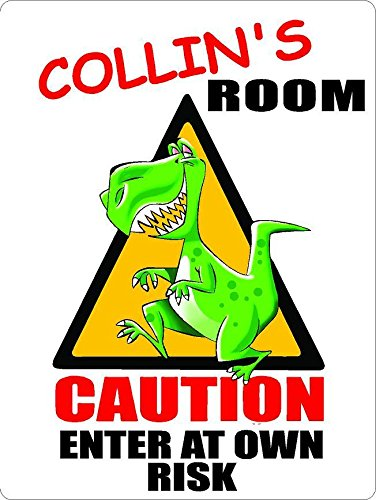 "ANY AND ALL GRAPHICS Collin Caution Enter Dinosaur Kids Room Door décor Sign 7""X10"" Plastic"