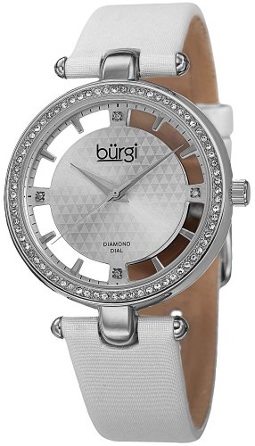 Burgi Women's BUR104WTS Diamond and Crystal-Accented Watch with White Satin ()