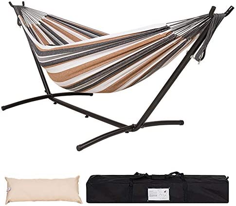 Lazy Daze Hammocks Double Hammock with 9FT Space Saving Steel Stand Includes Portable Carrying Case, 450 Pounds Capacity, White Coffe
