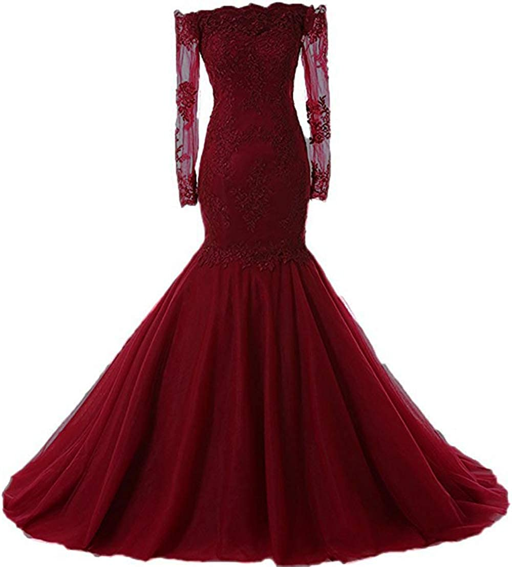 Burgundy Womens Off The Shoulder Prom Dresses Long Sleeves Lace 2019 Mermaid Tulle Evening Formal Gowns Wedding Party Dresses