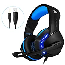 USB Computer Gaming Headset for PS PC Xbox One Controller Noise Cancelling Over Ear Headphones with Mic LED Light Bass Surround Soft Memory Earmuffs for Laptop Mac Nintendo Switch Games (Blue)