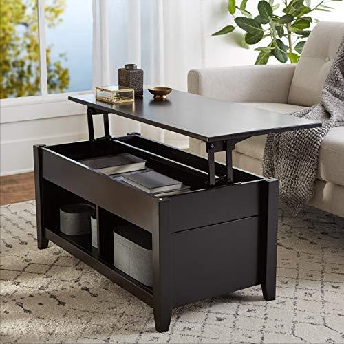 AmazonBasics Lift-Top Storage Coffee Table, Black
