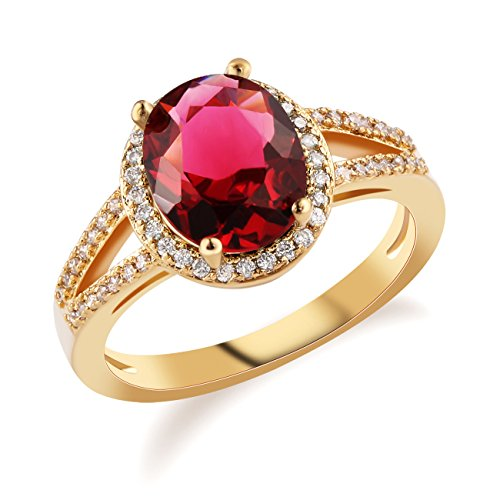 (GULICX Rose Red Oval Center Cubic Zirconia Stone Cocktail Ring Size 7,8,9,10)
