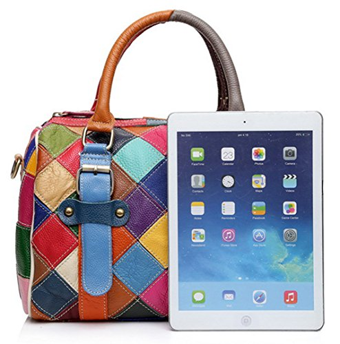 Da Floral borse Totes vera le in spalla Crossbody donne … colorati Greeniris per plaid Borse multicolore Borse 2 donna pelle Hobo SOxFnpd
