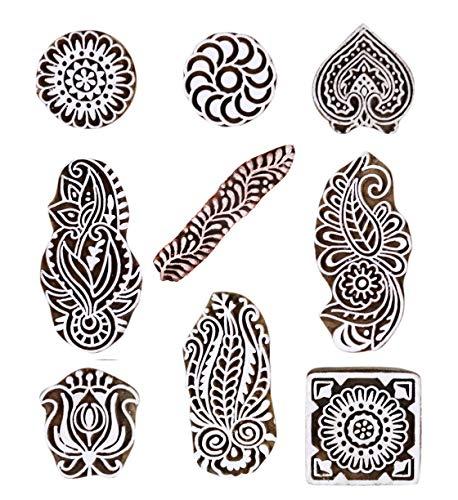 JGARTS Printing Stamps Mughal Design Wooden Blocks (Set of 9) Hand-Carved for Saree Border Making Pottery Crafts Textile Printing Handmade - Stamps Printing Block