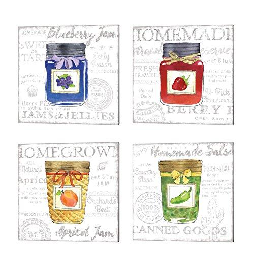 Canning Kitchen by Beth Grove, 4 Piece Canvas Art Set, 14 X 14 Inches Each, Kitchen Art -