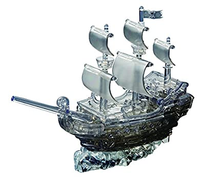 Bepuzzled Original 3D Crystal Puzzle Deluxe - Pirate Ship, Black - Fun yet challenging brain teaser that will test your skills and imagination, For Ages 12+