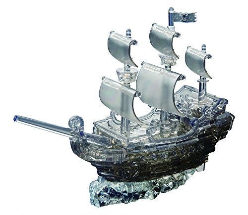 Bepuzzled Original 3D Crystal Puzzle Deluxe - Pirate Ship, Black - Fun yet challenging brain teaser that will test your skills and imagination, For Ages 12+ -
