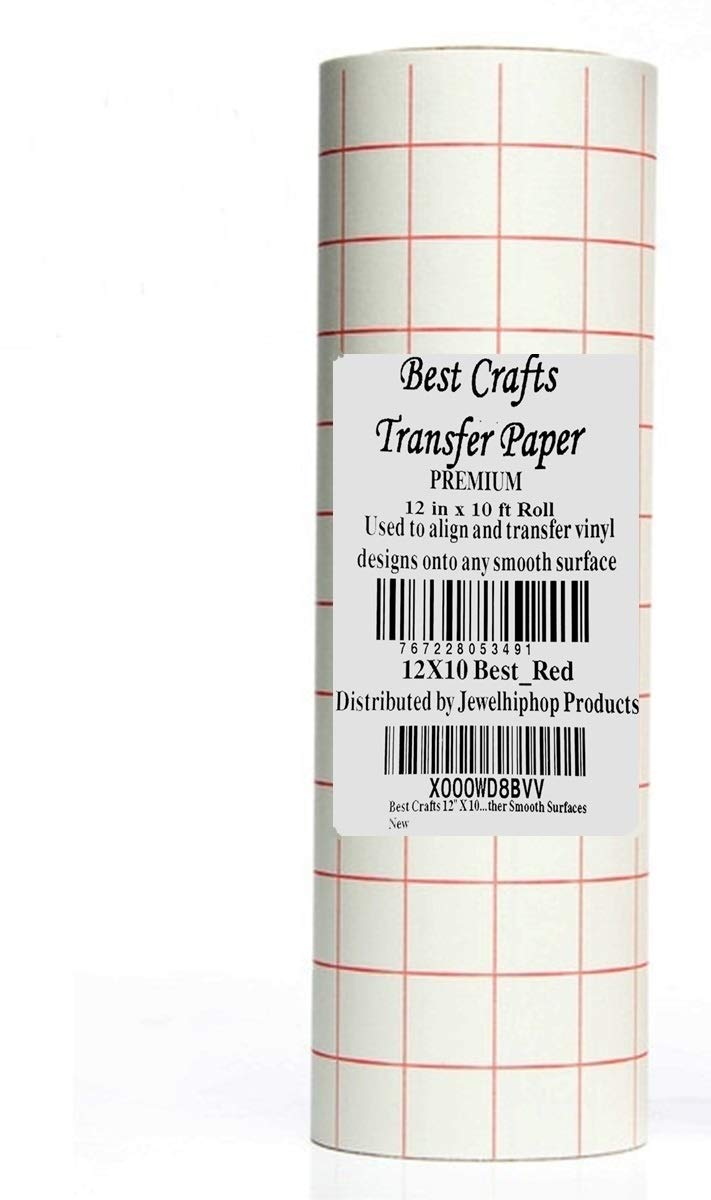 JH Best Crafts 12'' X 25' Feet Roll Transfer Paper w/Grid- Perfect Alignment of Cameo or Cricut Self Adhesive Vinyl for Decals, Walls, Signs, Ceramics, Glass, Windows and Other Smooth Surfaces by JH Best Crafts