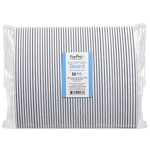 "ForPro Black Curved Foam Board, 100/180 Grit, Manicure and Pedicure Nail File, 7"" L x .75"" W, 50-Count ()"