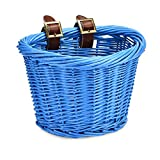 YEHTEH Wicker Kid Bike Basket, Colorful Bicycle Basket for Junior's Bicycle, Size L10 x W8x H7 inch