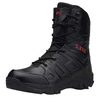 LuckyGirls Zapatos para Hombre Botas Militares de Media Caña Zapatillas de Senderismo Casual Moda Cómodas Calzado Planos con Cordones: Amazon.es: Deportes y ...