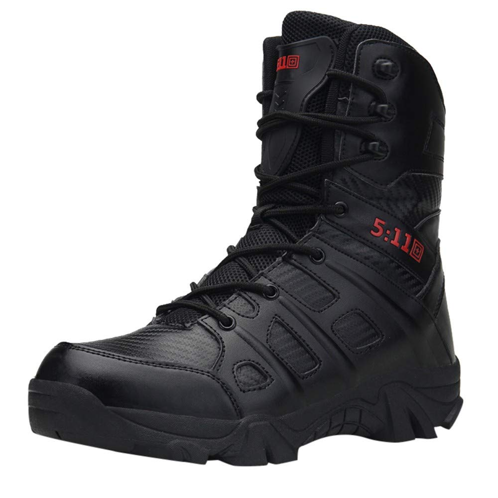 HOSOME Men Military Boots Comfortable Non-Slip Wear-Resistant Combat Hiking Outdoor Shoes Lace-up Desert Boots Black
