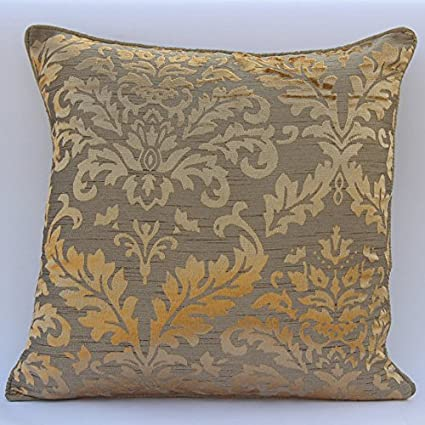 Handmade Gold Throw Pillows Cover, Damask Throw Pillows Cover, Pillow  Covers 18u0026quot;x18u0026quot