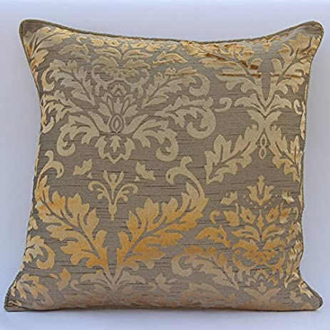 Handmade Gold Throw Pillows Cover, Damask Throw Pillows Cover, Pillow  Covers 20u0026quot;x20u0026quot