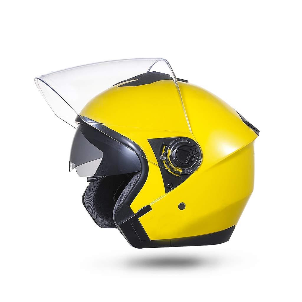 ヘルメット バイクヘルメット、オートバイハーフヘルメット防曇ダブルレンズセーフティキャップ電気自動車ヘルメット  イエロー いえろ゜ B07PX9WXDM