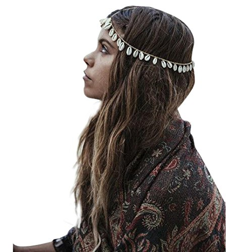 PHOTNO Women Fashion Bohemian Metal Head Chain Shell Headband Head Piece Hair (Shell Head)
