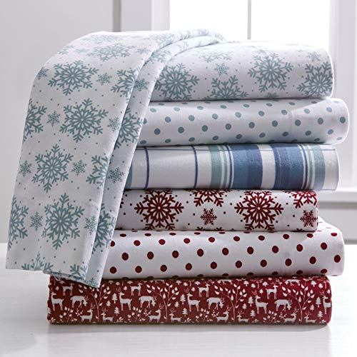 BrylaneHome Cotton Flannel Print Sheet Set - Cranberry Snowflake, Queen - Holiday Flannel Sheets