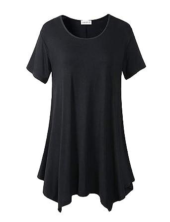 37528489f LARACE Womens Swing Tunic Tops Loose Fit Comfy Flattering T Shirt (Small,  Black 1