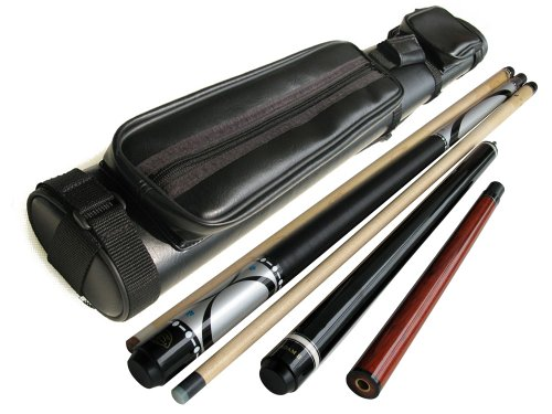 Brand New - Champion Silver Maple Pool Cue Stick (19oz) + Champion Jump and Break Cue (19oz) + 2x2 Case + Billiards Glove + Aim Trainer
