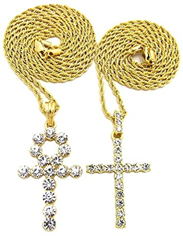 GWOOD Cross and Ankh Pendants Two Necklace Set 24 And 30 Inch Lengths Gold Color Rope Chains (Chief Keef Pendant)