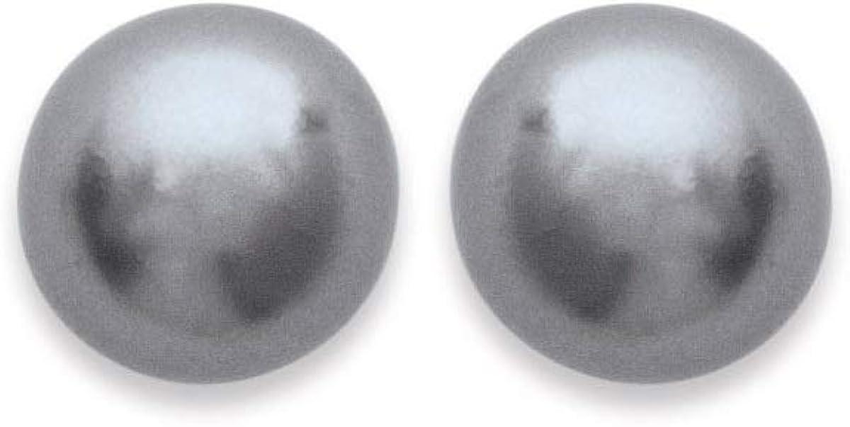 Pendientes chapado en oro y perla sintética gris–diámetro 4mm–Clavo Chip